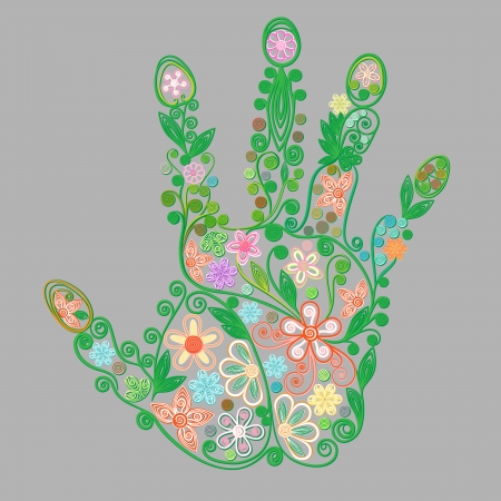 Beautiful abstract floral hand  Vector