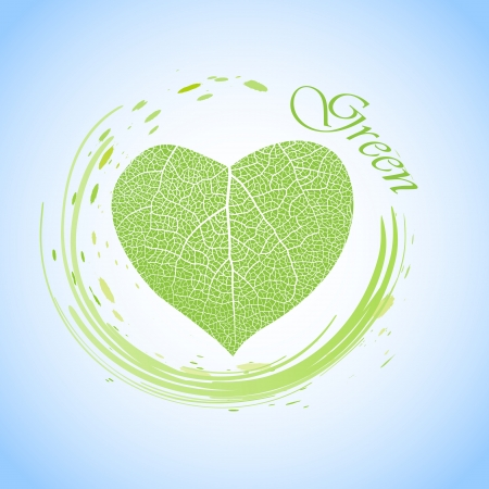 ecology concept with heart of green leaf, vector illustration