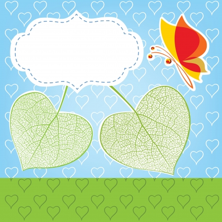 Two leaves in the form of heart, a love symbol, vector illustration Vector