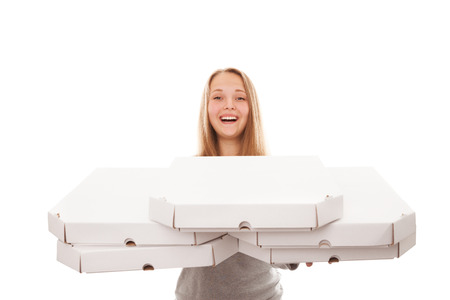 Pizza delivery woman isolated on white photo