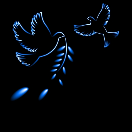 shone: Shone silhouette of a pigeon and olive branch on a black background, a neon brush