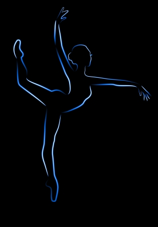 Shone silhouette of the ballerina on a black background, a neon brush Vector