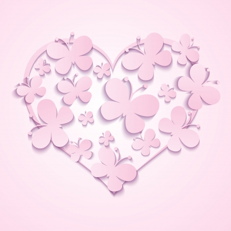 Love Shape  Vector Heart of butterflies