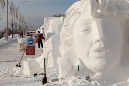 KRASNOYARSK, RUSSIA - JAN 18, 2014: Exhibition of paintings winter theme. Festival