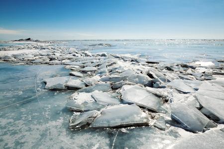 hummock: ice hummock,  winter Baikal lake