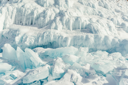 Beautiful ice of Lake Baikal with abstract icicle photo