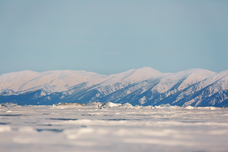 Mountains near Baikal in winter photo