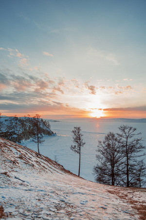 landscape of Lake Baikal in winter  photo