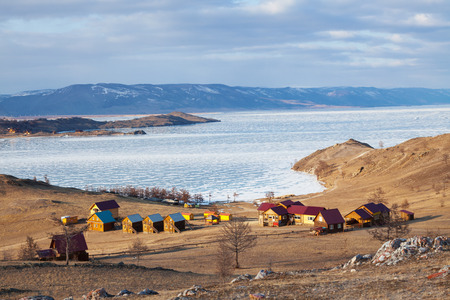 shores: Tourist complex on the shores of Lake Baikal near the Small Sea Stock Photo