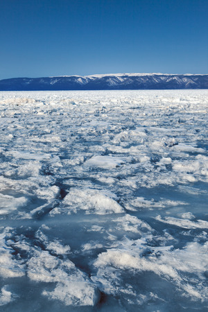 outdoor view of frozen baikal lake in winter