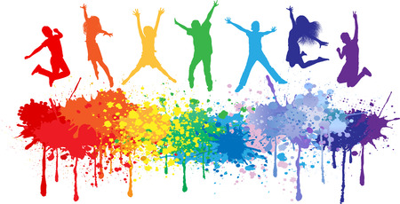 Colorful bright ink splashes and kids jumping on white background