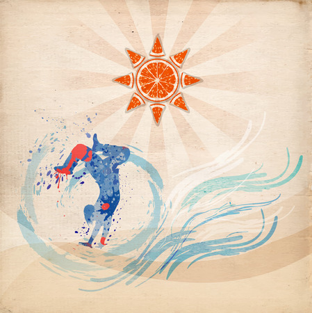 replacing: boy doing acrobatic coup, splashing sea under orange, replacing the sun, vector illustration Illustration