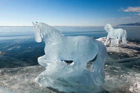 Horses, a sculptures  from ice on the frozen lake Baikal