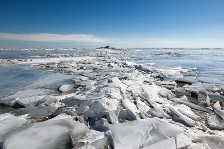 global cooling: ice hummock,  winter Baikal lake