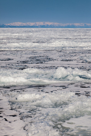 outdoor view of frozen baikal lake in winter photo