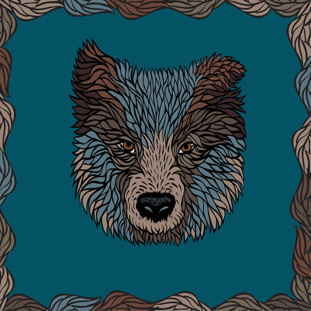 half breed: Colorful portrait of a dog, vector graphics