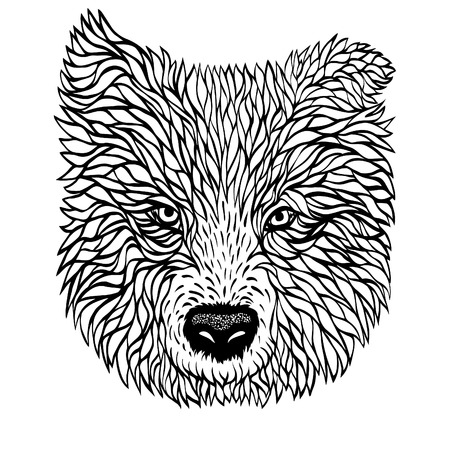 mutt: Black and white portrait of a dog, vector graphics