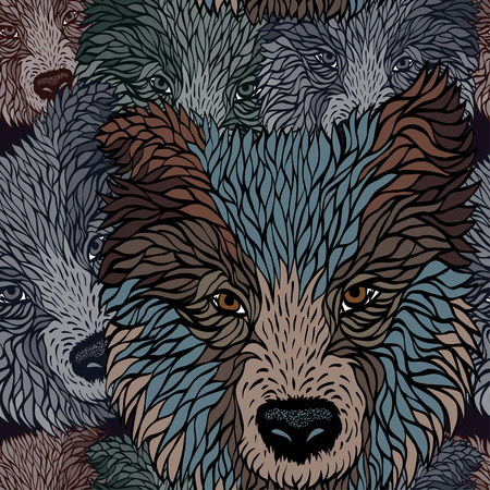 half breed: seamless  pattern of a head dog, vector graphics Illustration