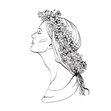 simple purity flowers: Portrait of pretty young woman in profile view. Vector illustration
