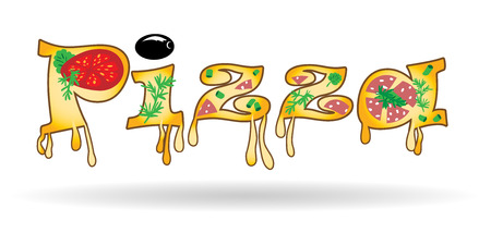 Word of the letters of pizza, vector illustration Stock Photo