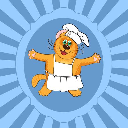 specialities: Cat chef cook in restaurant  uniform, vector illustration