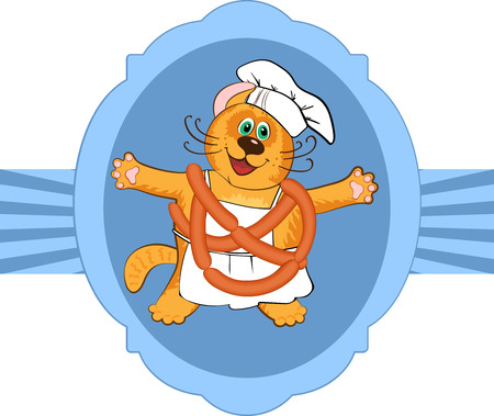 specialities: Cat chef cook in restaurant  uniform and frankfurters , vector illustration