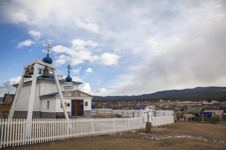 The Orthodox Church in the village of Khuzhir on Olkhon Island in the middle of Lake Baikal, Russia