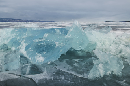 outdoor view of ice blocks at frozen baikal lake in winter