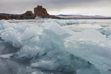 interstice: outdoor view of frozen Baikal lake in winter