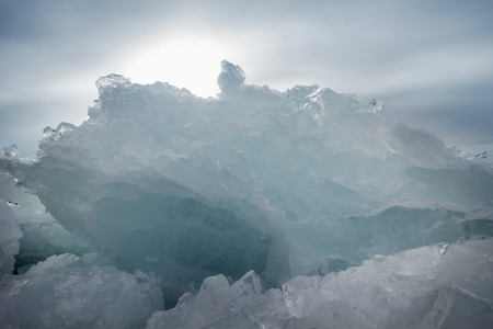 baical: outdoor view of ice blocks at frozen baikal lake in winter