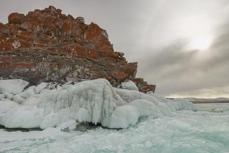 baical: outdoor view of frozen Baikal lake in winter