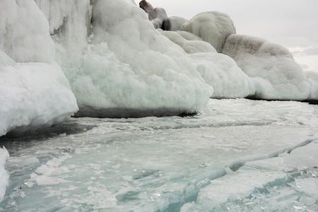 frozen lake: outdoor view of frozen Baikal lake in winter