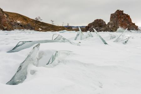 venkovní pohled na zamrzlém Bajkalu v zimě