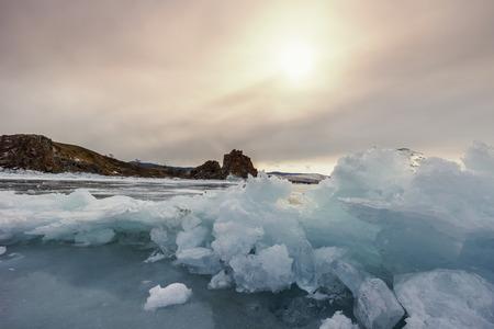 baical: Sunset on lake Baikal in winter, Siberia, Russia
