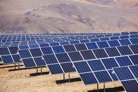 sun energy: Power plant using renewable solar energy with sun Stock Photo