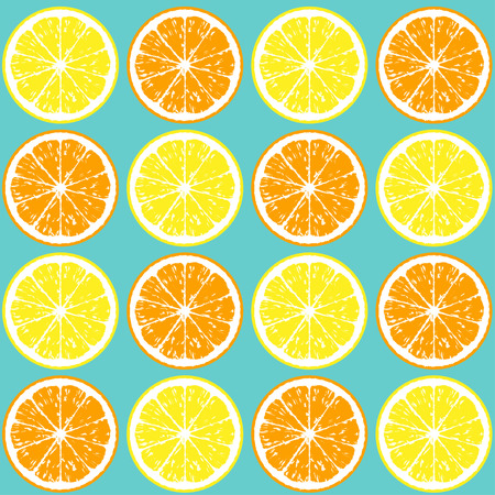 lemon slice: Pattern of orange and lemon slices. Seamless background