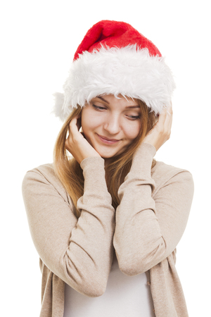 puzzlement: Christmas smiling girl, young woman in santa hat