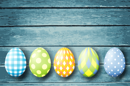 Colorful easter eggs  on wood background. Vector illustration.