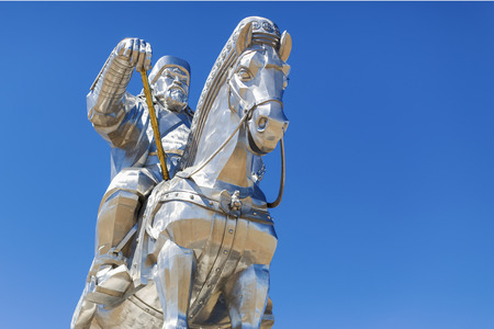 Tsonjin Boldog, Mongolia - May, 06 2016: 40-meters tall statue of Genghis Khan on horseback. Statue Complex