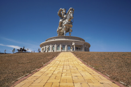 Tsonjin Boldog, May, 06 2016: 40-meters tall statue of Genghis Khan on horseback. Statue Complex, Mongolia