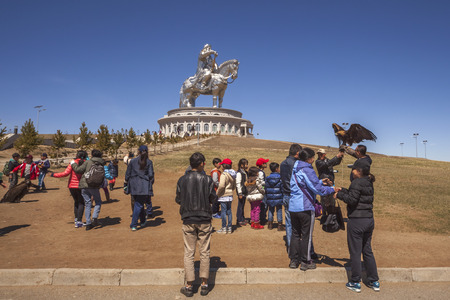mongols: Tsonzhin-Boldog, Mongolia MAY, 06 2016: Mongolian children on excursions to the tourist complex Chinggis Khaan