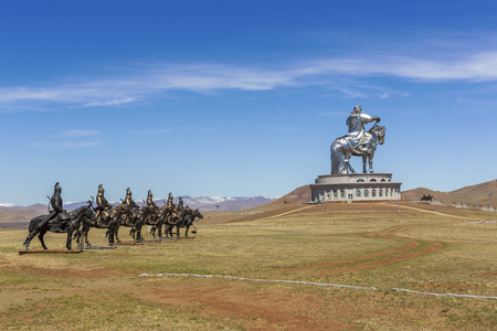 Tsonjin-Boldog, Mongolia - May,06 2016: Equestrian statues of warriors of Genghis Khan Stock Photo