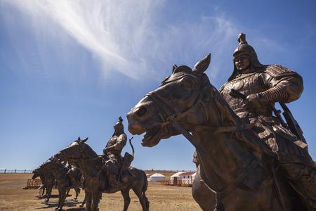 mongolia horse: Equestrian statues of warriors of Genghis Khan, Tsonjin Boldog, Mongolia Stock Photo