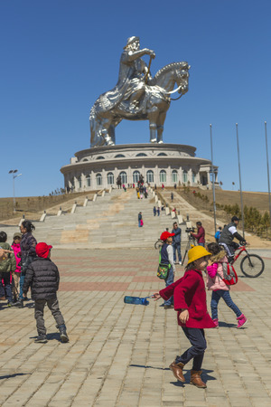 Tsonjin-Boldog, Mongolia -  May,06 2016: people on an excursion to the tourist complex Genghis Khan Editorial