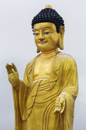 Golden statue of young Buddha near the hill Zaisan in � � � �� � � � н� � � � � � �� � �, BUDDHA PARK, center of cultural and religious heritage Zanabazar Stock Photo