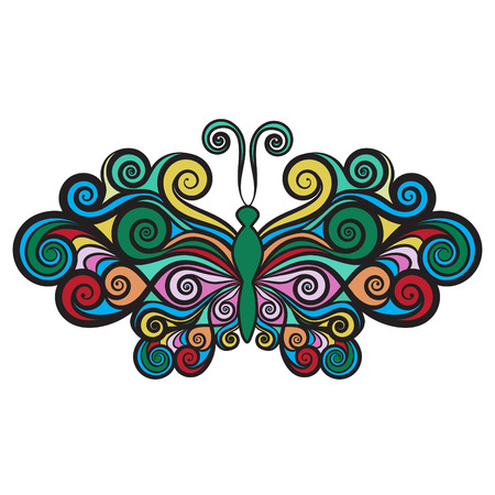 curls: Decorative butterfly with wings curls, vector illustration