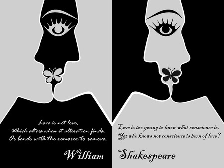 Young man and woman have merged into a kiss, at the bottom of William Shakespeares quote, vector graphics, postcard