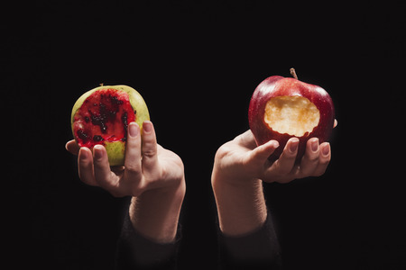 Two bitten-off apples of knowledge in female hands, normal and bloody