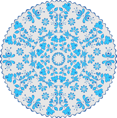 Circular pattern in the style of Gzhel, blue and gray,suitable for the design of napkins, plates, tablecloths and other items of clothing and household