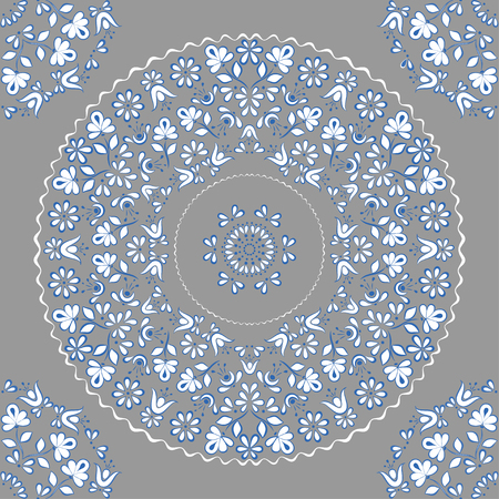 Gentle and lace seamless vector square pattern in the style of Gzhel on the basis of a circle, suitable for background, fabric, paper, cover design, gray with blue